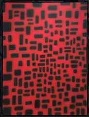 Red Convergence (Modern, Abstract Geometric Red & Black Painting in Black Frame