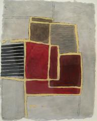 Greys & Reds (Modern, Abstract Grey, Burgundy & Black Encaustic on Paper)