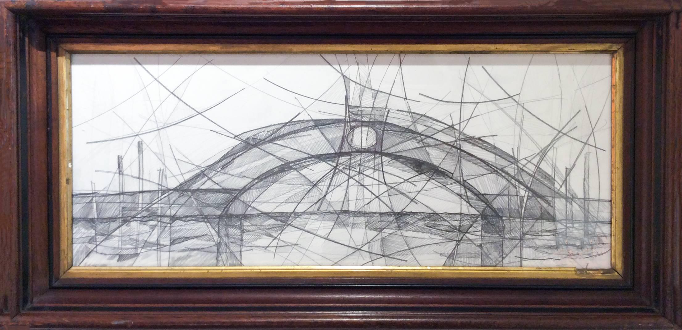 Venetian Bridge X (Abstract, Cubist Style Graphite Drawing in Vintage Frame)