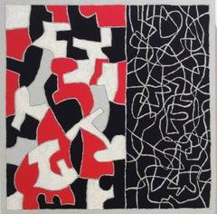 Interlock #30 (Modern, Graphic Black, White & Red Abstract Painting on Panel)