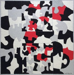 Interlock #45 (Graphic, Abstract Red, Grey, White & Black Painting on Canvas)