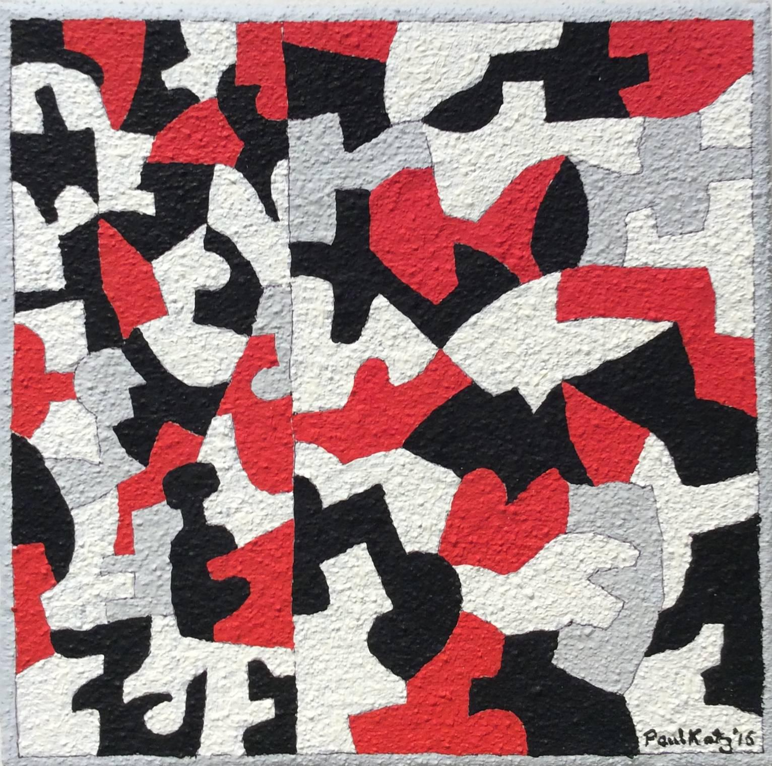 Interlock #43 (Graphic, Abstract Red, Grey, White & Black Painting on Canvas)