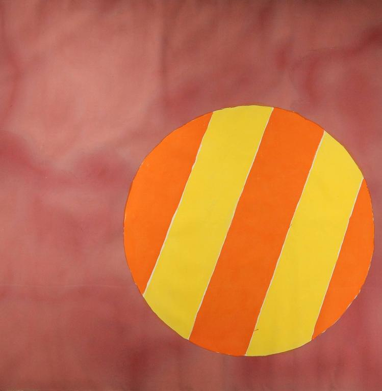 Edward Avedisian Abstract Painting - Untitled 028 (Mid-Century Modern Color Field Canvas in Raspberry w/ Striped Orb)