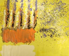 Untitled 033 (1970s Abstract Expressionist Canvas in Canary Yellow & Orange)