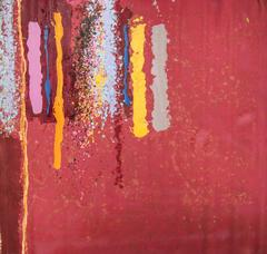 Untitled 055 (1970s Large Abstract Painting in Red with Splattered Stripes)