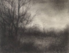 Bog Road View 3 (Modern, Realistic Black & White Drawing of Trees in Landscape)