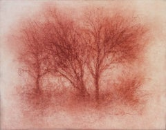 Red Trees (Modern, Realistic Red Sanguine Chalk Drawing of Trees in Landscape)