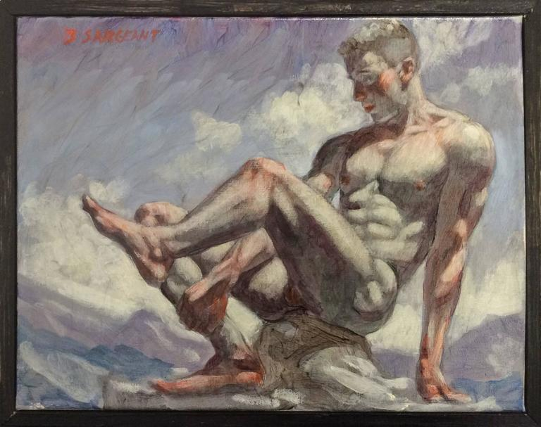 Nude Man on Rock (Figurative Oil Painting of Nude Male in Grey Blue Landscape)