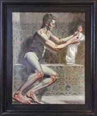 Man Drying Himself with Towel (Figurative Oil Painting of Nude in Turkish Bath)