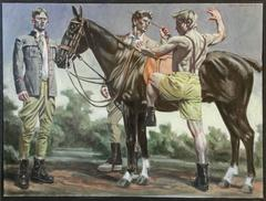 Equestrians with Black Horse (Figurative Oil Painting, Three Men in Landscape)
