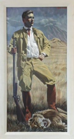 Lion (Figurative Oil Painting of Safari Hunter in African Landscape, Framed)