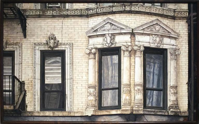 Richard Britell Still-Life Painting - 71 Clinton (Photo-Realist Oil Painting of NYC Light Beige Brick Building)