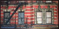 406 East 9th Street: Modern, Realistic Painting of Red & Beige Brick NY Building
