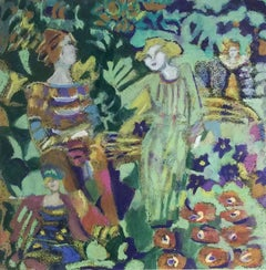 Faun and Fairies (Expressionist Oil Pastel of Figures and Flowers in the Garden)