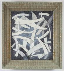 Arcs III: Abstract Light Blue, White & Black Constructivism Style Framed Drawing