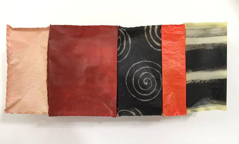 Paper Quilt #11 (Quirky Hand-stitched Abstract Mini Wall Sculpture)