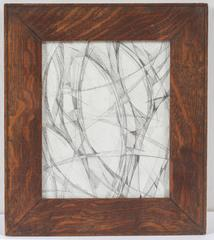 Balla Calla #10 (Futurist Style Abstracted Flower Drawing in Vintage Wood Frame)