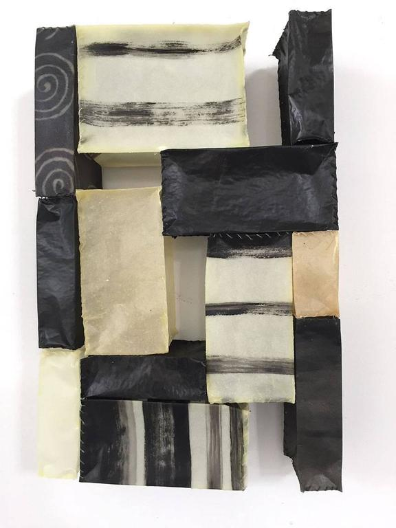 Paper Quilt #10 (Quirky Black and White Hand-stitched Abstract Wall Sculpture)