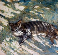 Night Season (Impressionistic Oil Painting of Tiger Striped Cat on a Porch)