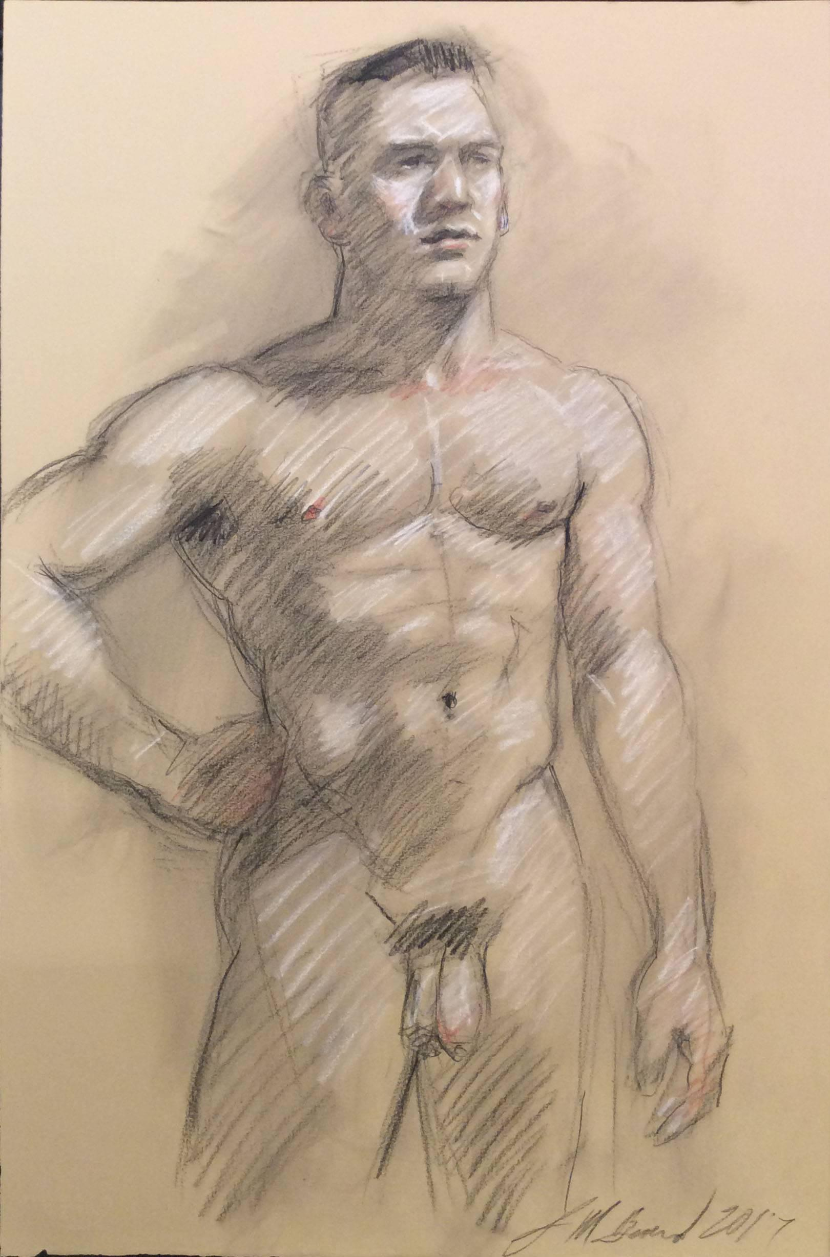 MB 001 (Modern, Academic Style Figurative Life Drawing of Muscular Male Nude )