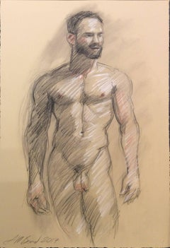 MB 002 (Modern, Academic Style Figurative Life Drawing of Standing Male Nude)