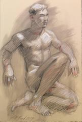 MB 003 (Modern, Academic Style Figurative Drawing of Seated Male Nude)