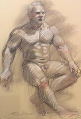 MB 005 (Modern, Traditional Style Figurative Life Drawing of Muscular Male Nude)