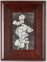 Totem Infanta XII (Modern, Abstract Cubist Style Drawing in Vintage Wood Frame)