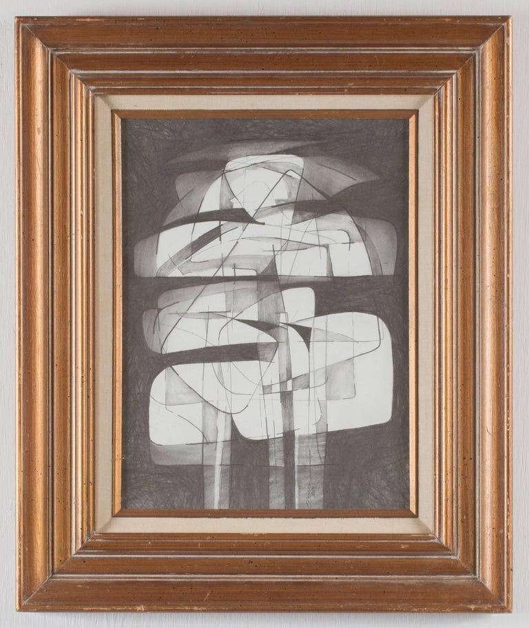 David Dew Bruner Abstract Drawing - Totem Infanta XIII (Modern, Abstract Cubist Style Drawing in Vintage Frame)