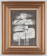 Totem Infanta XIII (Modern, Abstract Cubist Style Drawing in Vintage Frame)