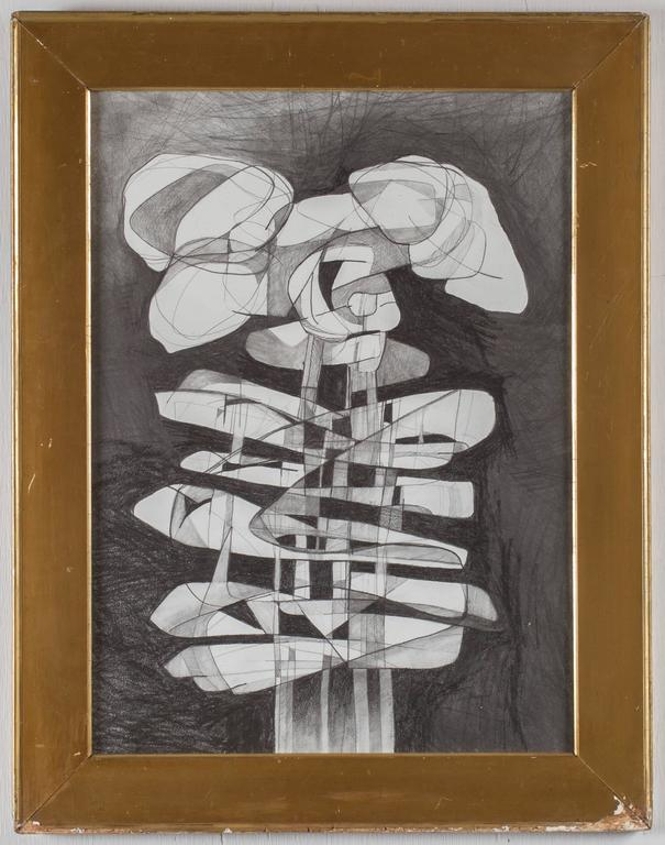 Lindner Totem (Modern, Cubist Style Abstract Drawing in Antique Frame) - Art by David Dew Bruner