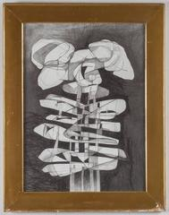 Lindner Totem (Modern, Cubist Style Abstract Drawing in Antique Frame)
