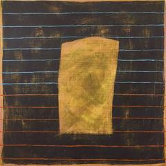 Landscape (Abstract Encaustic on Panel with Delicate Horizontal Stripes)