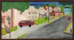 Off the Arterial / Northside #2: Modern, Naive Style Urban Landscape Painting