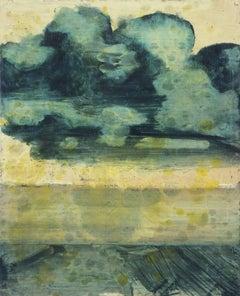 Dark Cloud Horizon (Modern, Small Landscape Oil Painting of Grey-Blue Cloud)