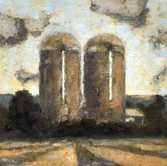 Two Silos (Modern, Landscape Painting of Country Farm in Warm Brown & Yellow)