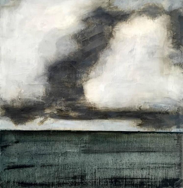 Cumulus (Modern, Gestural Landscape Painting of Grey Cloud & Oxford Blue Field)