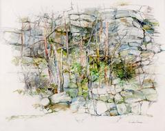 Thicket (Modern, Impressionistic Rock Landscape Drawing in Green Earth Tones)