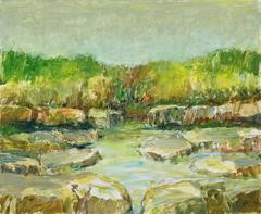 After the Rain (Modern, Impressionistic Earth Toned Creek Landscape Painting)