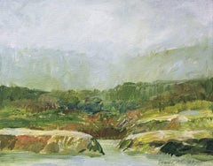 Mist on the Creek (Modern, Impressionistic Landscape Painting of Green Creek)