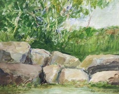 Rocky Bank (Modern, Impressionistic Landscape Painting of Green Forest & Rocks)