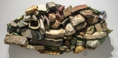 Taghkanic Creek (Contemporary, Abstract Earth & Rock 3D Wall Sculpture)