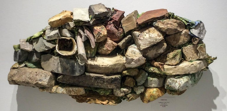 Linda Cross Abstract Sculpture - Taghkanic Creek (Contemporary, Abstract Earth & Rock 3D Wall Sculpture)