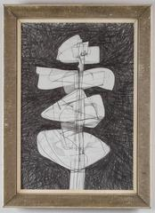 Totem Infanta #14 (Modern, Abstract Cubist Style Drawing in Vintage Frame)