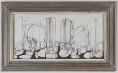 Corinth Canal II (Abstract, Cubist Style Graphite Drawing in Vintage Frame)