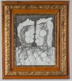 Janus Woman #2 (Abstract Figurative Portrait Drawing on Paper in Antique Frame)