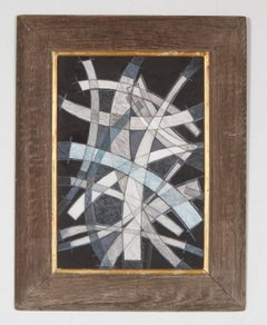 Arcs VI (Graphic, Abstract Drawing on Paper in Antique Wood Frame)