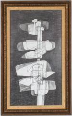 Totem Infanta XVIII (Modern, Abstract Figure Drawing in Vintage Frame)