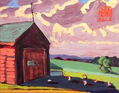 Ducks in the Shade (Small Abstract Landscape of Red Barn in Green Field)