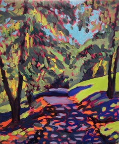 Fallen Leaves Olana (Modern Fauvist Style Abstract Landscape Painting on Canvas)